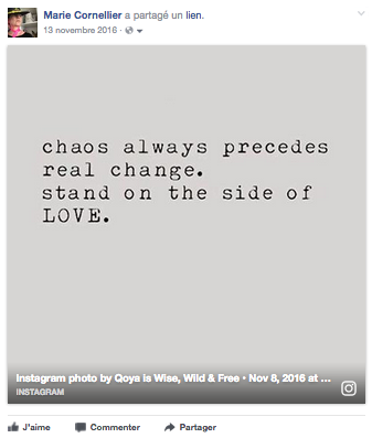 chaos always precedes real change. stand on the side of LOVE.